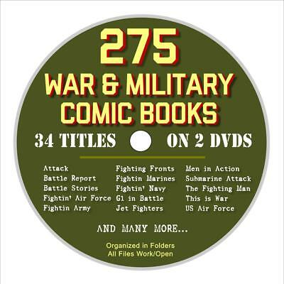 275 Military Comic Books on 2 DVDs, War Comics, Army, Navy, Jet Fighters, WW2