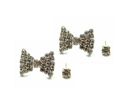 Two Pairs of Small Stud Earrings, Silver Color