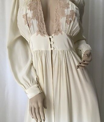 Vintage TROUSSEAUX by TERRIS Bias Dressing Gown Robe French Lace 36 FRANCE