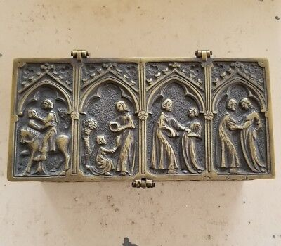 Antique Very Heavy Brass Apostles Box Religious Scenes Hinged Metal Lidded