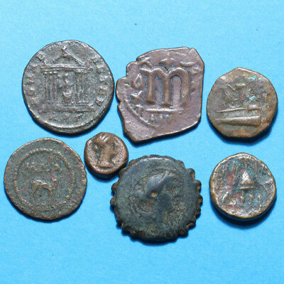 Lot of 7 Unknown Greek Roman And Byzantine Bronze coins