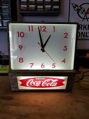 Vintage 1960's Coca Cola Fishtail Lighted Clock Sign~Works