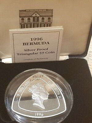 1996 SILVER BERMUDA PROOF 5 OZ $9 BERMUDA TRIANGLE COIN 155 Grams!