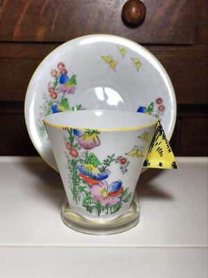 Art Deco Floral Butterfly Teacup and Saucer