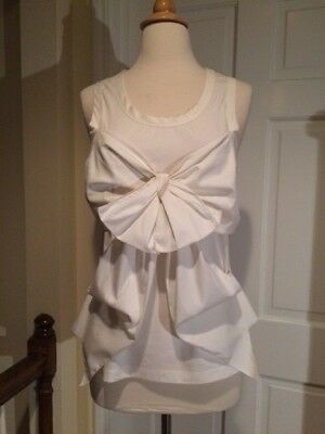 Jean Paul Gaultier White Sleeveless Top Blouse with Bow 44/10/8