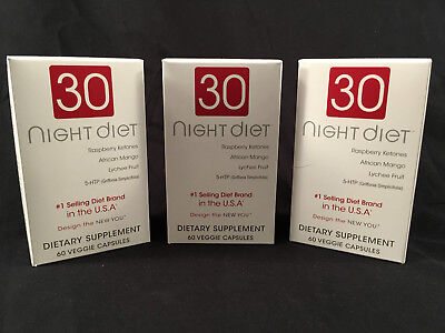 LOT OF 3 Creative Bioscience 30 Night Diet Supplement, 60 Count (180 Total)