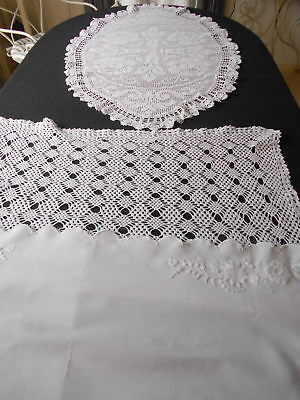 3 STUNNING VINTAGE hand made CROCHET LACE AND COTTON EMBROIDERED TABLE RUNNERS