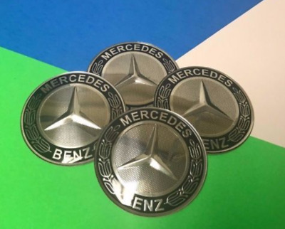 65MM Mercedes- Benz Car Wheel Center Hub Caps Trim Silver grey  Stickers Emblem