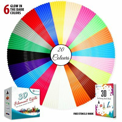 Stylo 3D filament refills PLA 1.75 mm thickness - 20 colors - 5 meter each