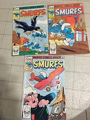 Vintage lot of 3 Marvel Comics  Group Smurfs # 1 2 3 Nice Set From 1982