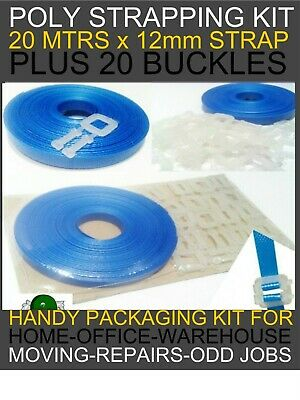 POLY STRAPPING & BUCKLES Packaging Kit 12mm x 20mtrs Strap + 20 Buckles