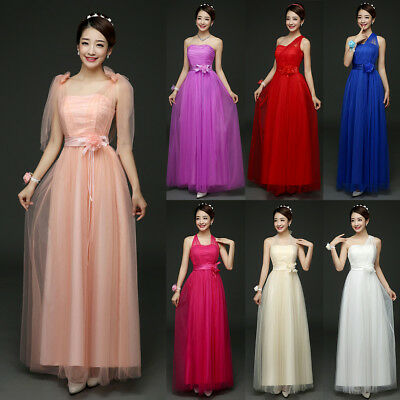 Women Multi Way Wrap Long Dress Wedding Bridesmaid Cocktail Party Prom Ball Gown