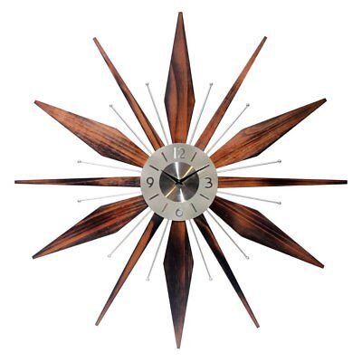 Sunburst-Clock-Mid-Century-Modern-Wall-Decor-Vintage-Starburst-Retro-Metal-Art