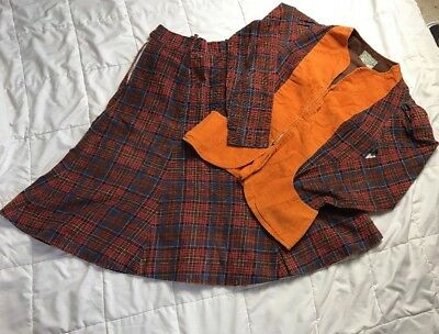 Vintage Betsey Johnson Alley Cat 2pc Top & Skirt Plaid 1970s 13/14 RARE HTF A17