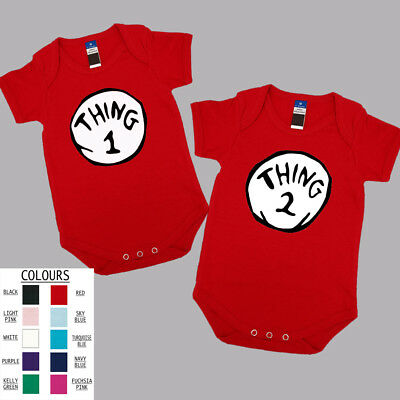 Thing One and Thing Two .One Piece. Baby Grow. Romper. Cotton. Funny Gift. Twins