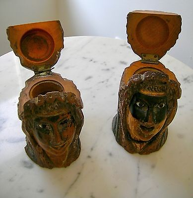 Pair Of 19Th Century Swiss Carved Masked Mardi Gras Figure Head Inkwells