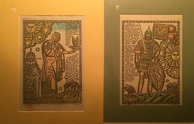 2! RUSSIAN Soviet LimitEd Lubok Colored Etchings PRINCE IGOR & CRY OF YAROSLAVNA