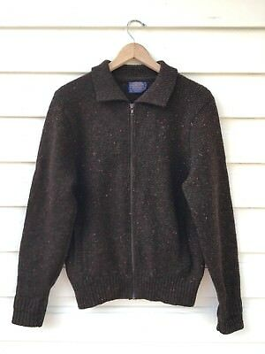 EUC Vintage Men's Pendleton Brown Speckled Virgin Wool Zippered Sweater Small