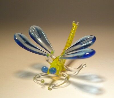 Blown Glass Art Insect Figurine Small Blue and Yellow DRAGONFLY