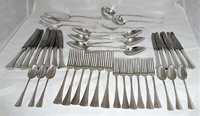 Antique 800 Silver Flatware Set from Hungary,Made in 1937, 44 Pieces,3370 grams