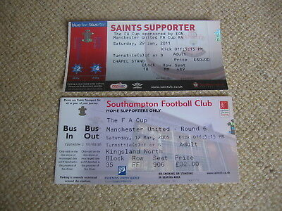 12 March 2005 Southampton Manchester United 29 Jan 2011 Fa Cup - Man Utd Ticket