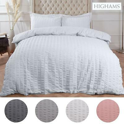 Highams Seersucker Duvet Cover with Pillowcase Bedding White Silver From £11.69