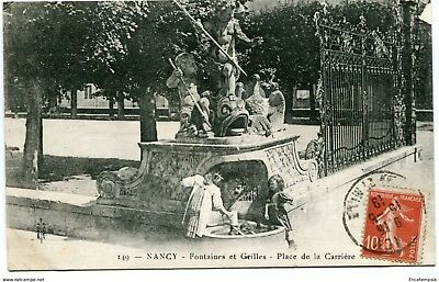 CPA-Carte postale-France - Nancy - Fontaine et Grille - Place de la Carrière -