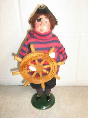 BYERS' CHOICE CAROLER Pirate with Eye Patch and Ships Wheel 2002