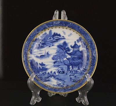 A Very Fine & Perfect Chinese 18Th Century B&w Saucer With Gilding