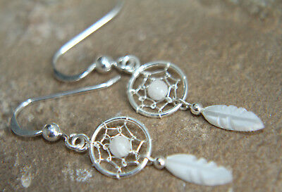 Moonstone Mop Feather Dreamcatcher Earrings 925 Sterling Silver Bridesmaids Etc