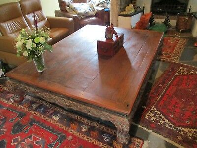 HUGE RARE ANTIQUE C19th CHINESE ELM OPIUM  / LOW TABLE