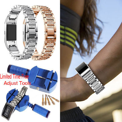 Crystal Stainless Steel Watch Band Wrist Strap For Fitbit Charge 2 + Free Tools