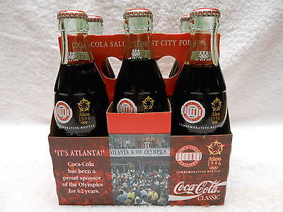 '90 It's Atlanta Olympic Coke Bottles 6 Pack w/ Mint Carrier ~ Collector Quality
