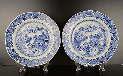A Pair Of Chinese 18Th Century Blue & White Plates Qianlong