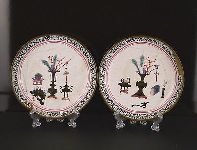 A Pair Of 19Th Century Enamelled Saucers With Precious Objects