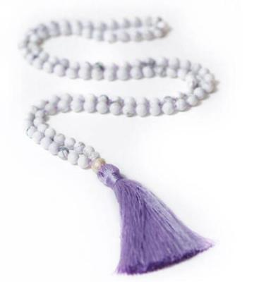 8mm Natural Howlite Violet 108 Mala Tassels Necklace Buddhism calming