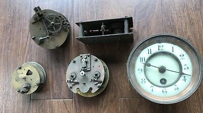 Vintage job lot of clock parts spares repair or steampunk