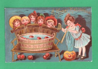 Ca 1908 P. Sanders Halloween Postcard Children Apple-Dunking Contest Jol