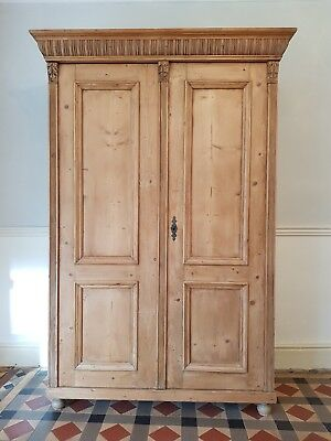 Antique rustic pine wardrobe armoire