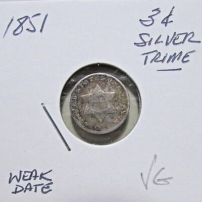 1851  3C Silver Trime***Nicer Entry Details***Rare Obsolete Coin
