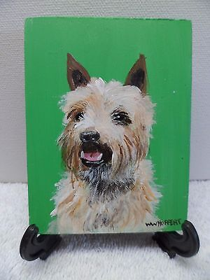Tan Cairn Terrier- Hand Painted On Tile With Easel By Artist W. W. Hoffert