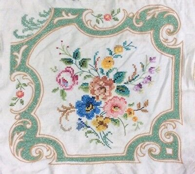 Vtg Hand Made Cross Stitch Tapestry Floral Linen Cushion Cover Front