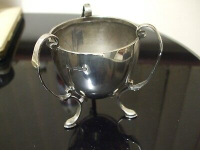SOLID SILVER THREE FOOTED/THREE HANDLED CUP by W & H - HALLMARKED SHEFFIELD 1929