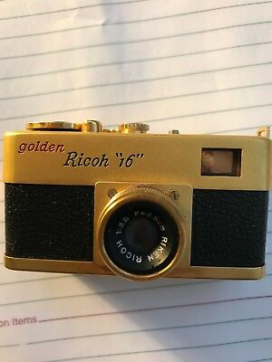 Golden Ricoh 16 Camera With Case