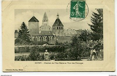 CPA-Carte postale-France -Cluny - Clocher de l'Eau Bénite et Tour des Fromages