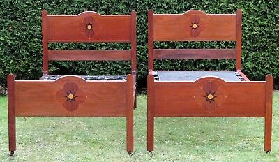 Pair of Inlaid Mahogany Single Beds with Spring Bases