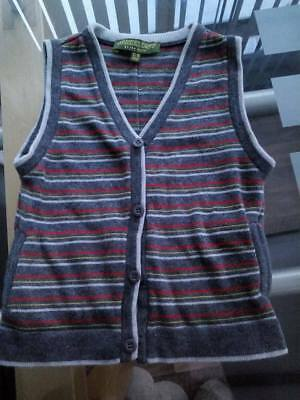 Ted Baker Boy Toddler Sleeveless Jumper Waistcoat age 12 - 18 months Grey Red