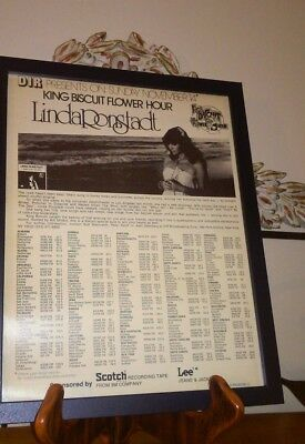 "1976 Linda Ronstadt ""Hasten Down The Wind"" King Biscuit Flower Framed Print Ad"