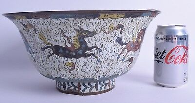 scarce large 17th c chinese cloisonne roaming horses bowl ming dynasty gold seal