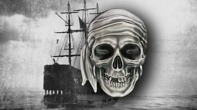 Palau 2017 5$ Pirate Skull 1oz Silver Coin In Hand